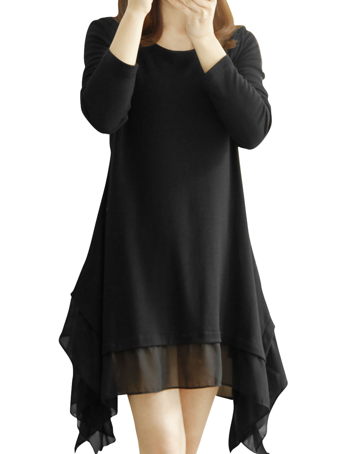 Women Long Sleeved Asymmetry Hem Loose Black Tunic Dress S