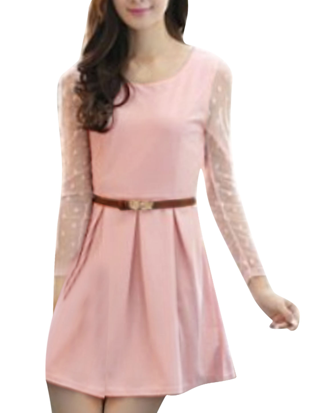 Women Pullover Dots Pattern Sleeve A Line Chic Dress Pale Pink XS