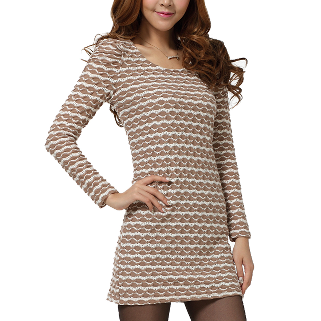 Women Long Sleeve Hollow Out Slim Fit Dress Khaki White XS