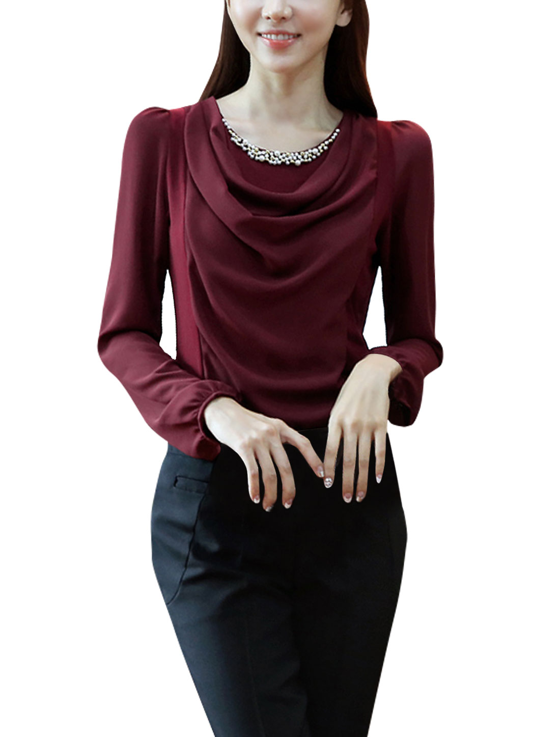 Ladies Nice Burgundy Color Beaded Front Chiffon Panel Top Shirt XS