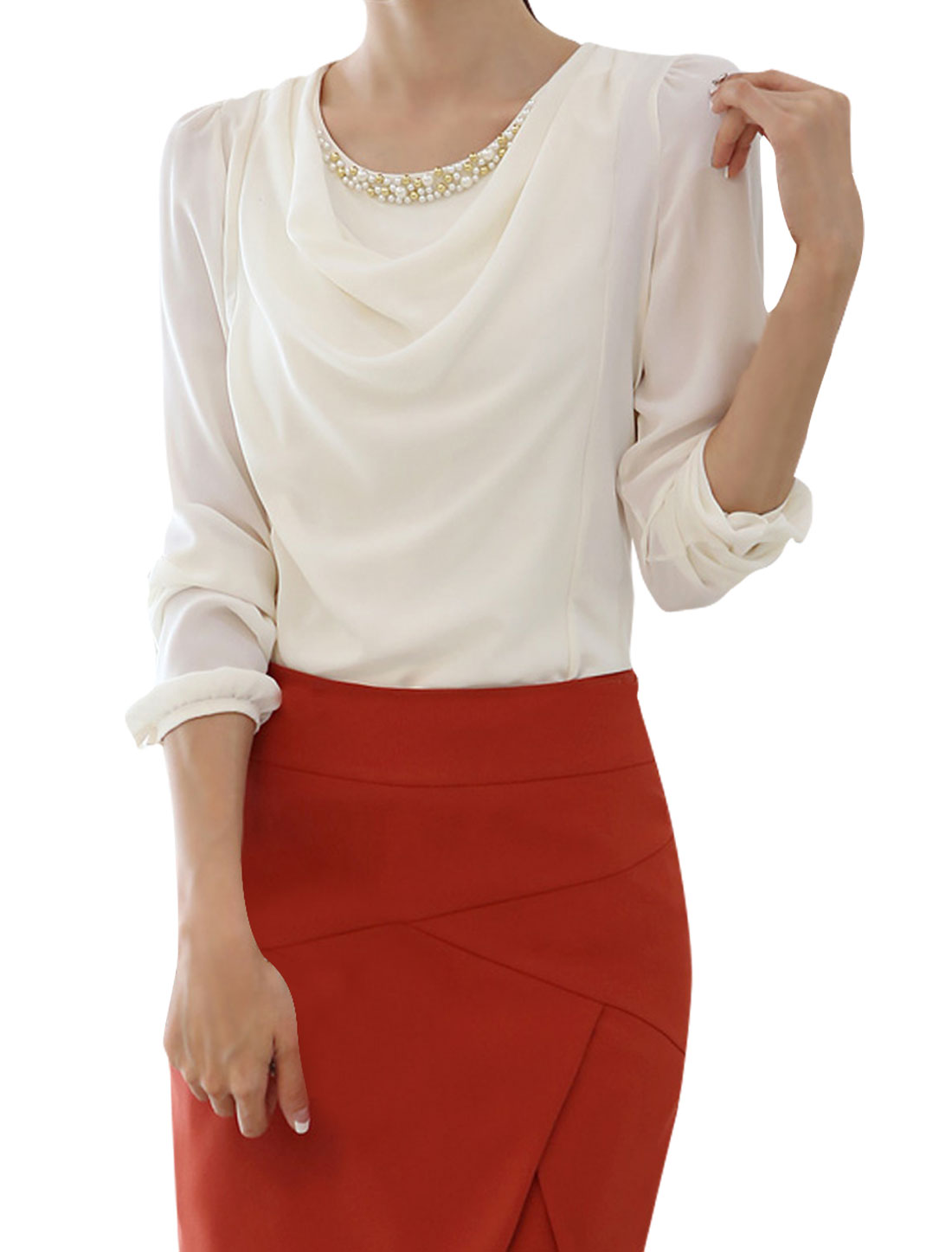 Woman Round Neck Long Sleeve Beaded Design White Top Shirt XS