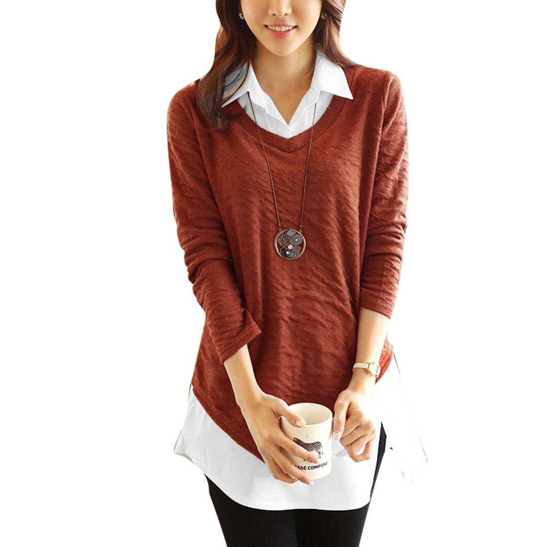 Chic Lady Rust Color Point Collar Long Sleeved Fake Two Pieces S