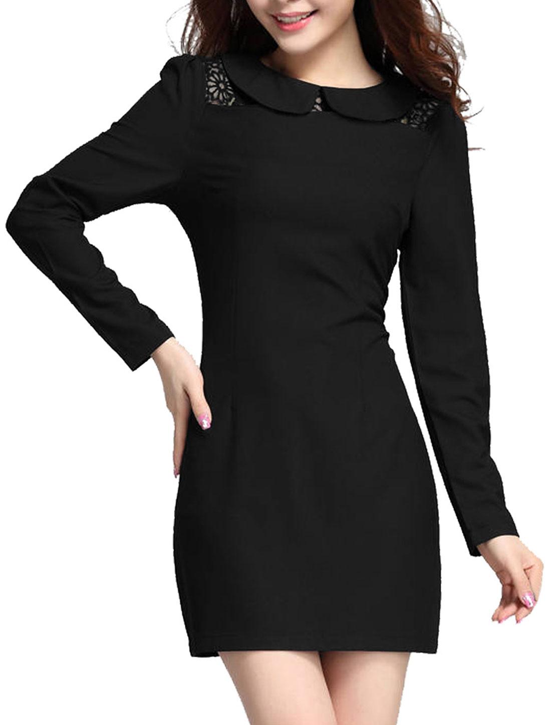 Ladies Doll Collar Long Sleeve Mesh Splice Shift Dress Black XS