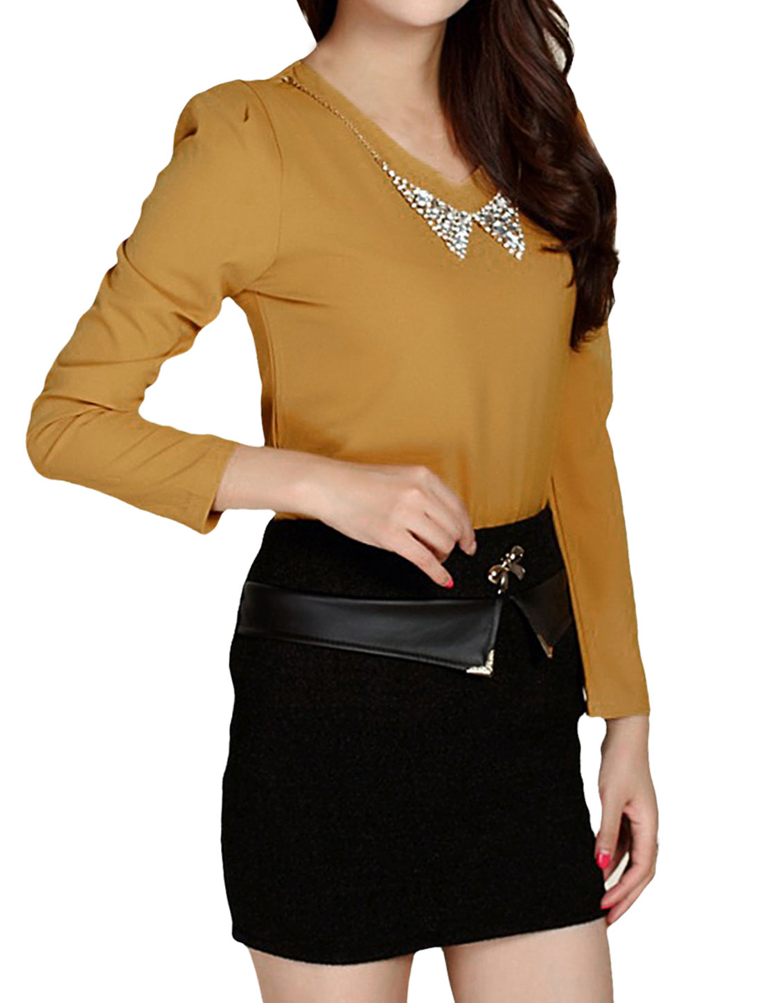 Woman V-Neck Long Sleeve Rhinestones Necklace Design Ochre Color Blouse S