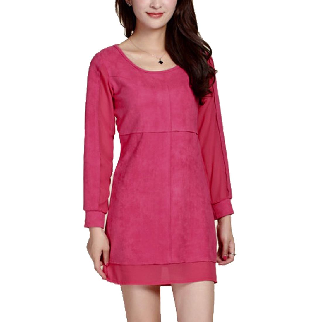 Women Chiffon Splicing Design Stylish Fuchsia Straight Dress S