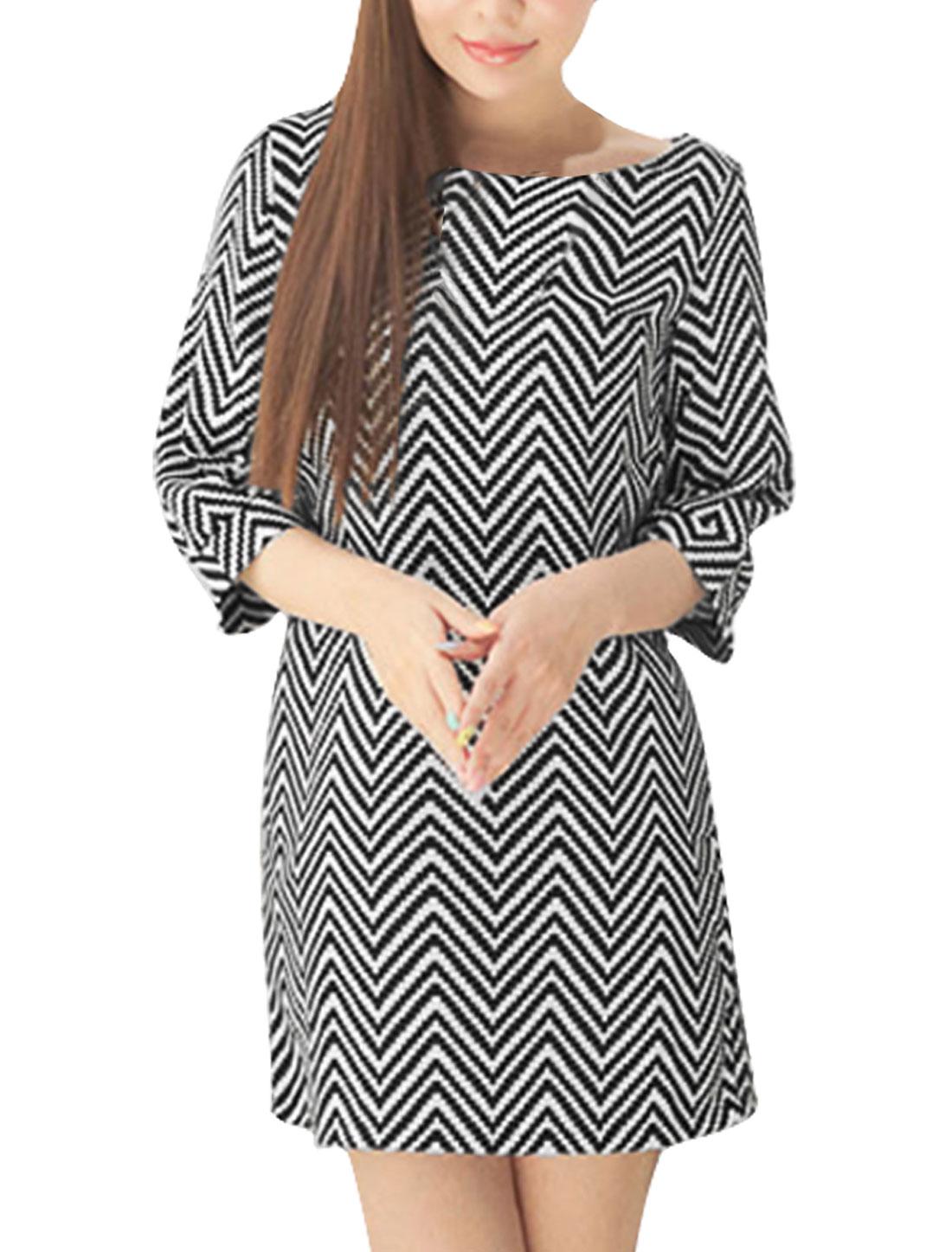 3/4 Sleeved Concealed Back Zip Zig-zag Black White Dress Women S