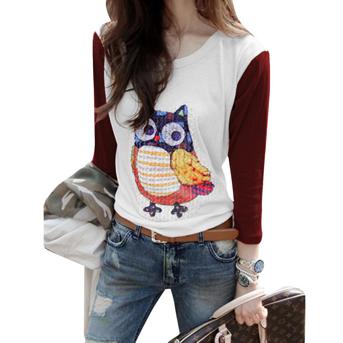 Lady Round Neck Long Sleeve Owl Pattern Stretchy White Burgundy Tops XS
