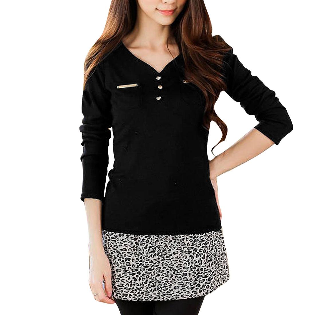 Lady V Neck Long Sleeve Stretchy Pockets Decor Black Knit Shirt XS