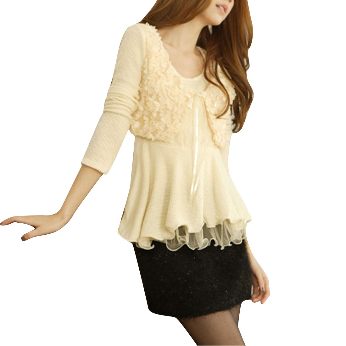 Ladies Round Neck Solid Flower Design Patchwork Beige Knitted Top XS