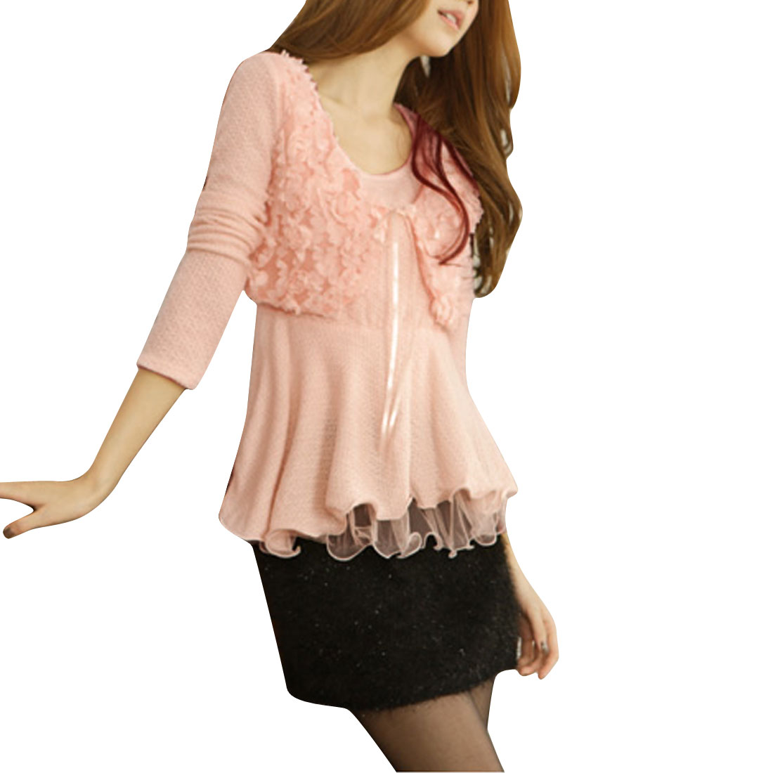 Pure Light Pink Lace-Up Patchwork Front Knitted Peplum Top for Lady XS