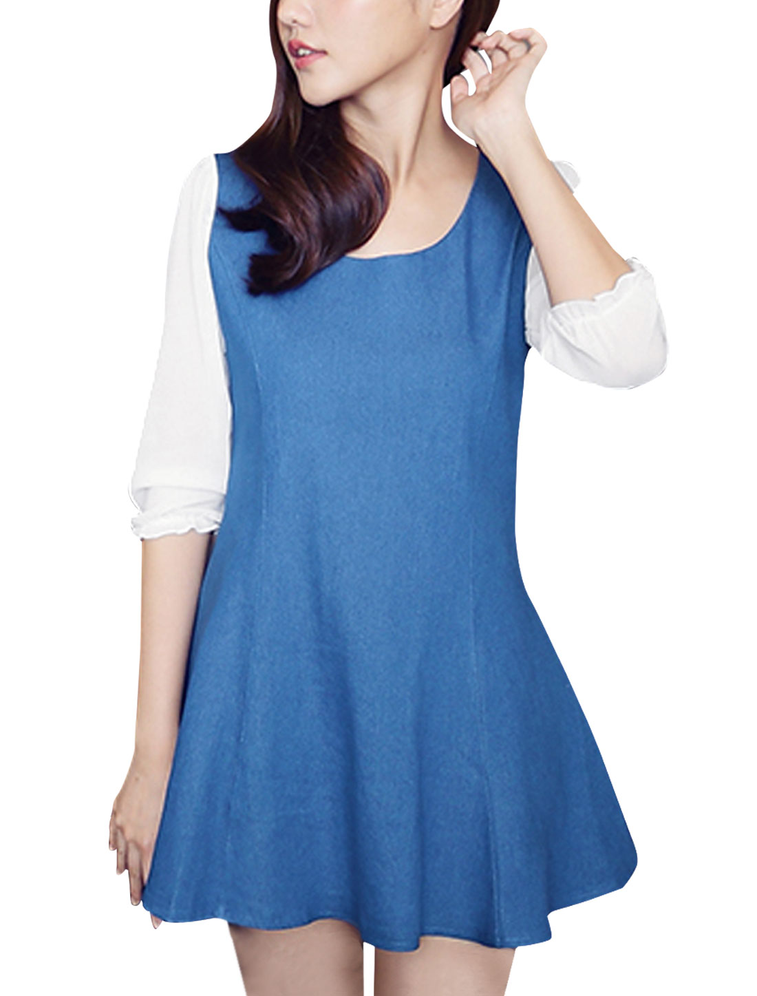 Lady Round Neck Patchwork Concealed Zipper Back Blue White Dress XS