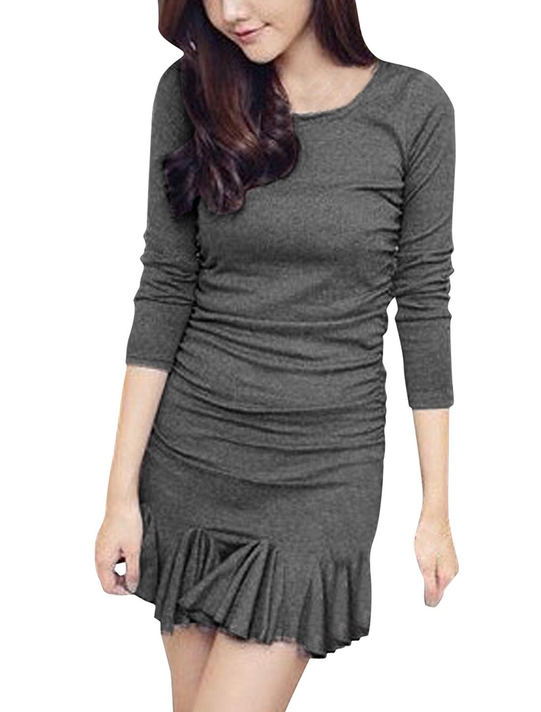 Lady Round Neck Long Sleeve Stretchy Ruffled Hem Gray Dress XS