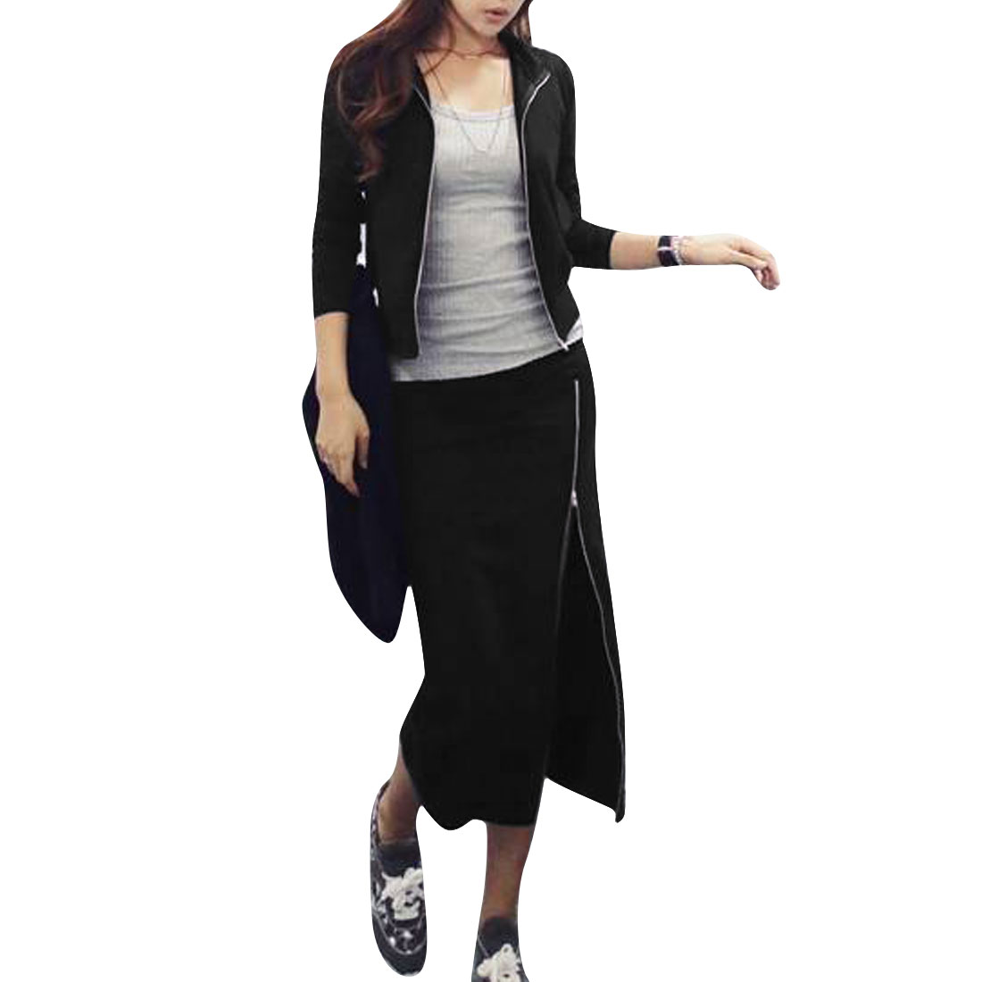Lady Long Sleeve Zip Up Jacket & Stretchy Waist Black Skirt S