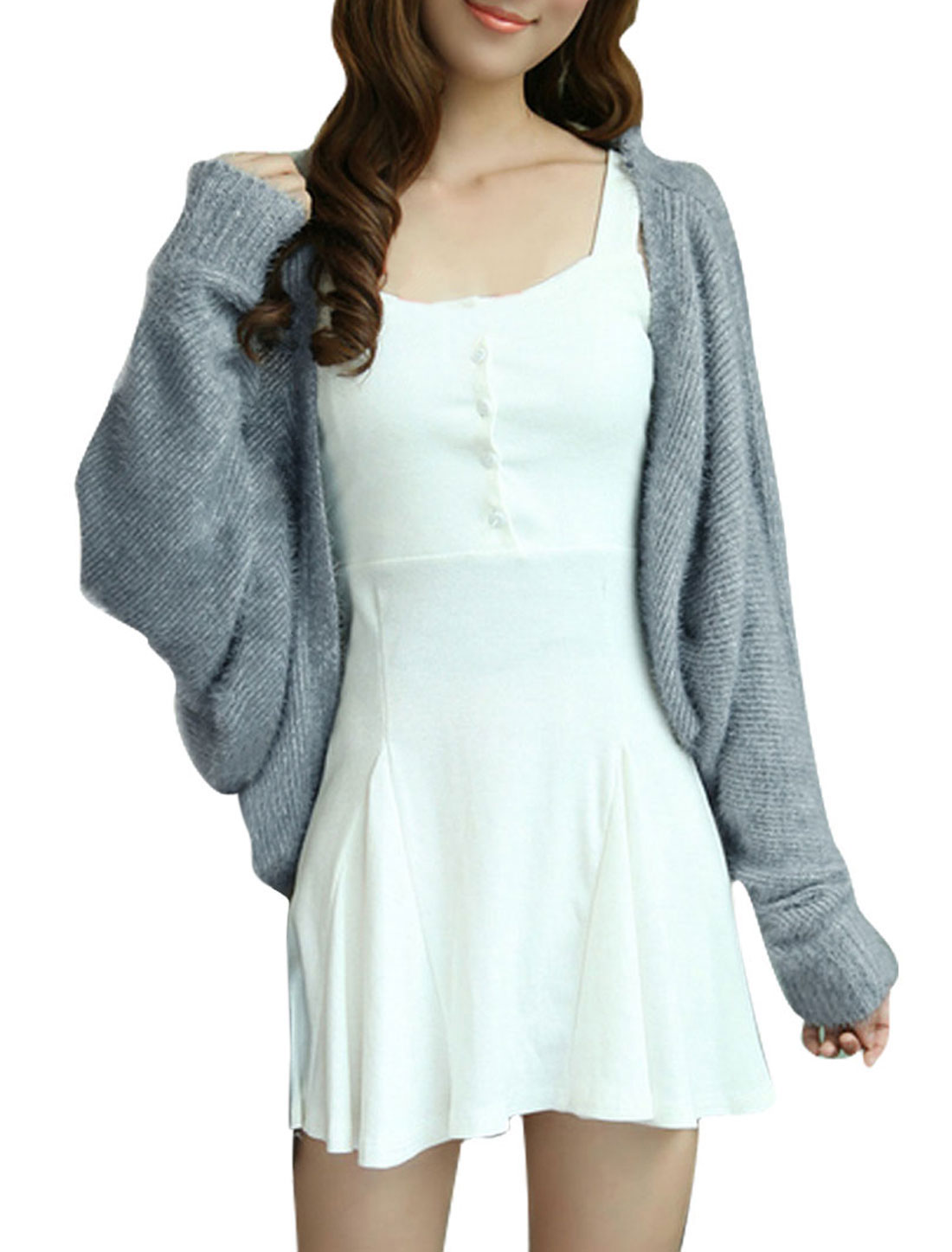 Lady Gray Dolman Sleeved Front Opening Casual Knitted Sweater S