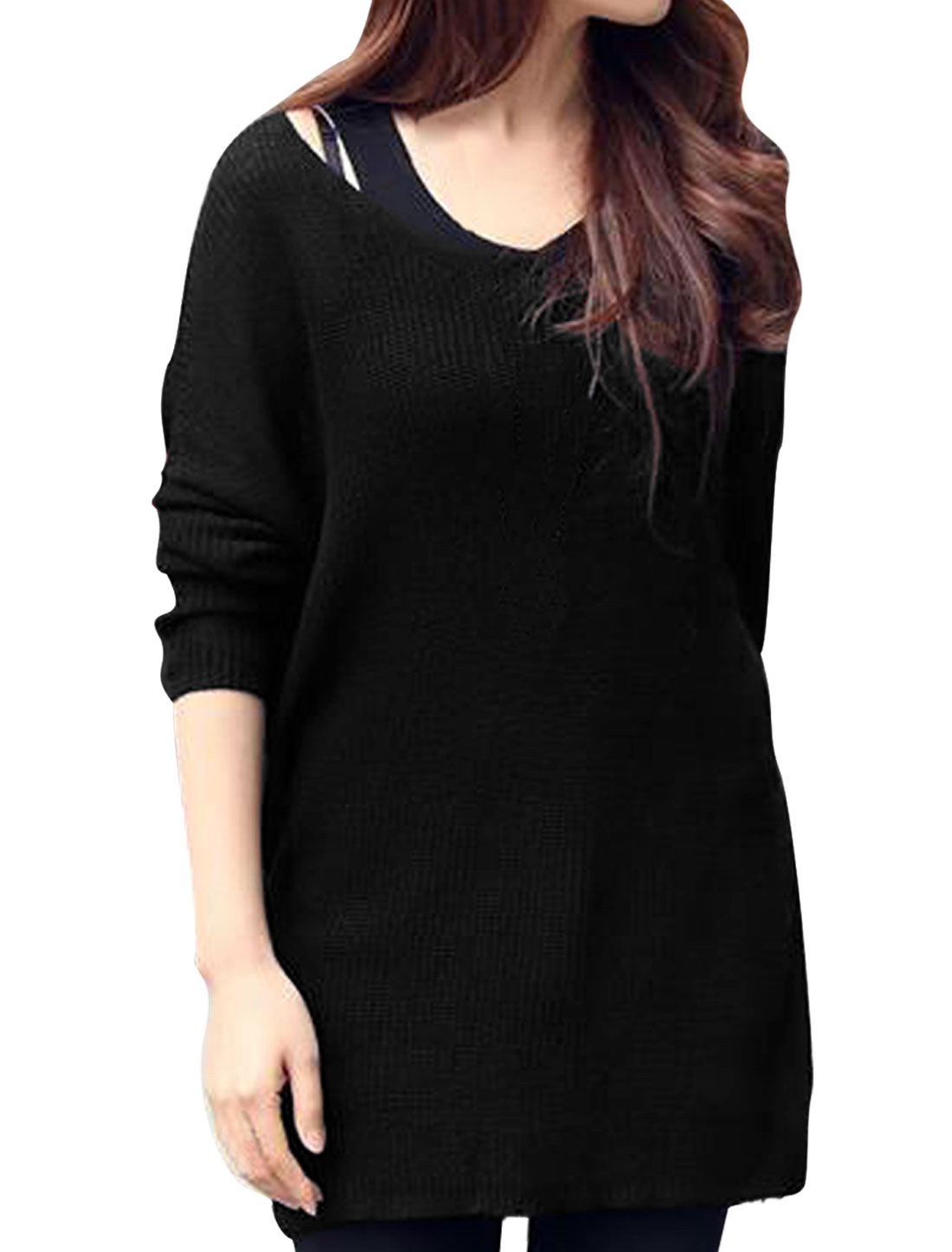 Lady Trendy V Neck Long-sleeved Pullover Design Black Sweater S