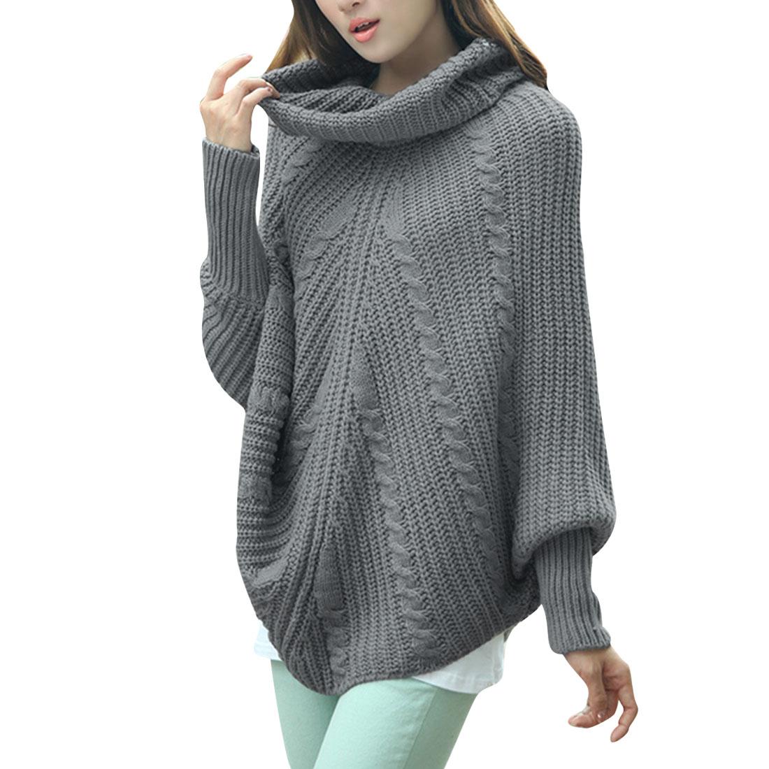 Women Batwing Sleeved Turtle Neck Dark Gray Knit Tunic Sweater S