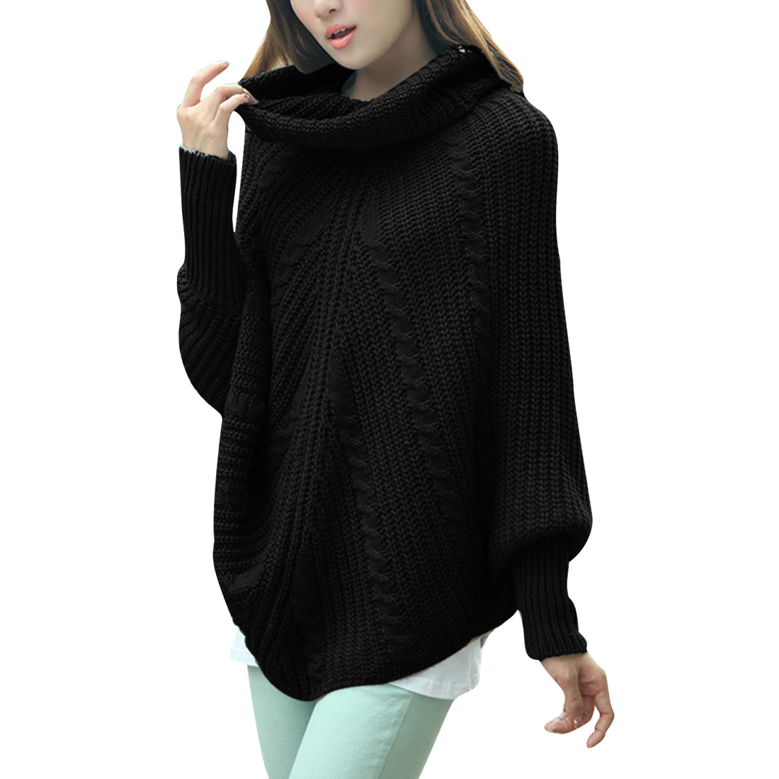 Ladies Twist Long Sleeved Pullover Black Knit Tunic Sweater S