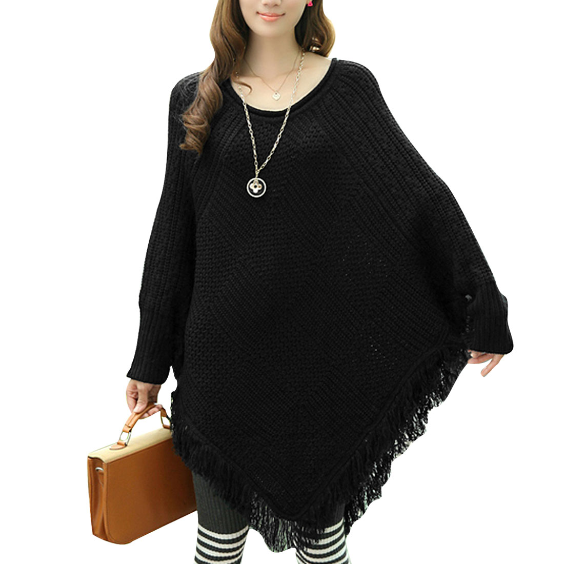Lady Round Neck Long Batwing Sleeve Tassels Detail Black Sweater XS