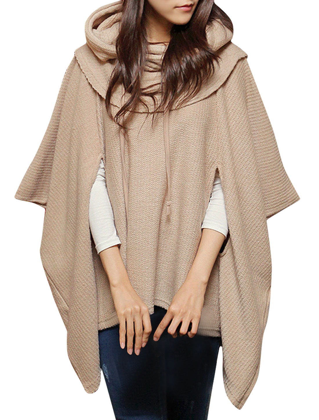 Woman Round Neck Pure Khaki Tunic Knitted Poncho w Movable Hood S