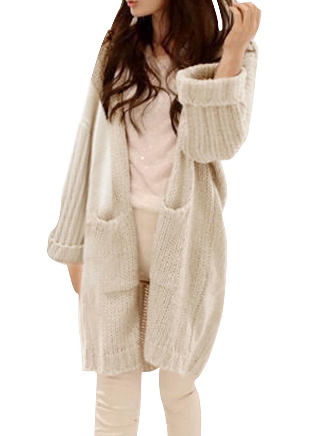 Lady Long Sleeve Front Opening Pockets Decor Beige Sweatercoat S