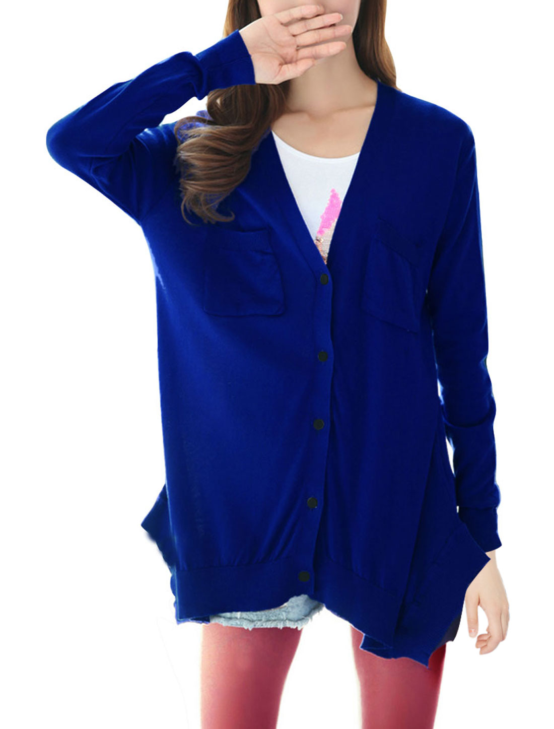 Lady V Neck Long Sleeve Stretchy Button Up Royal Blue Knitted Cardigan S