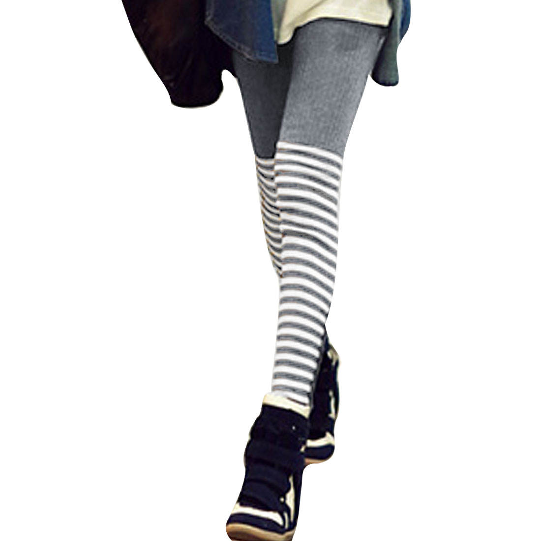 Gray Stripes Ribbed Button Decor Warm Knit Leggings for Lady XS