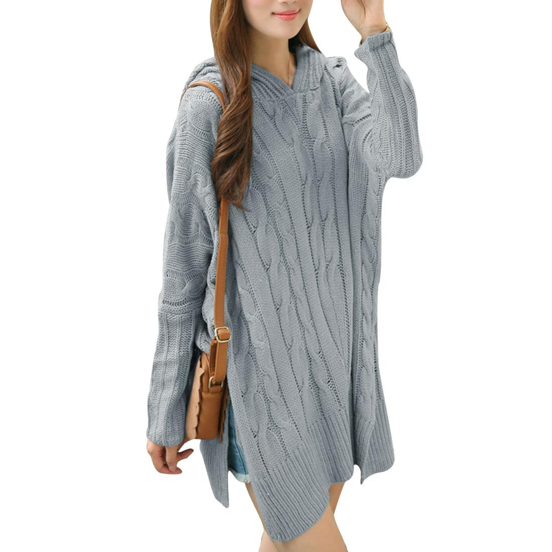 Women Zipper Hooded Pullover Split Side Autumn Wearing Sweater Gray M