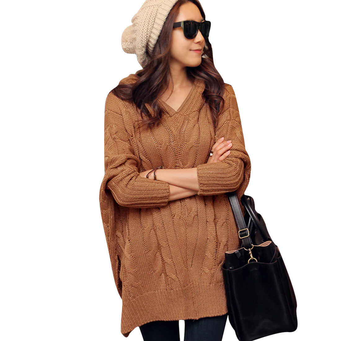 Women Zipper Hooded Dolman Sleeve Cable Style Stylish Sweater Brown M