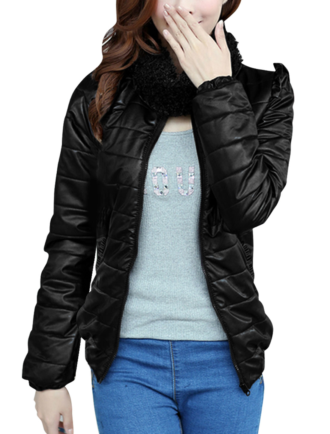 Lady Pure Black Full Zip-Up Front Padded Jacket w Scarf S
