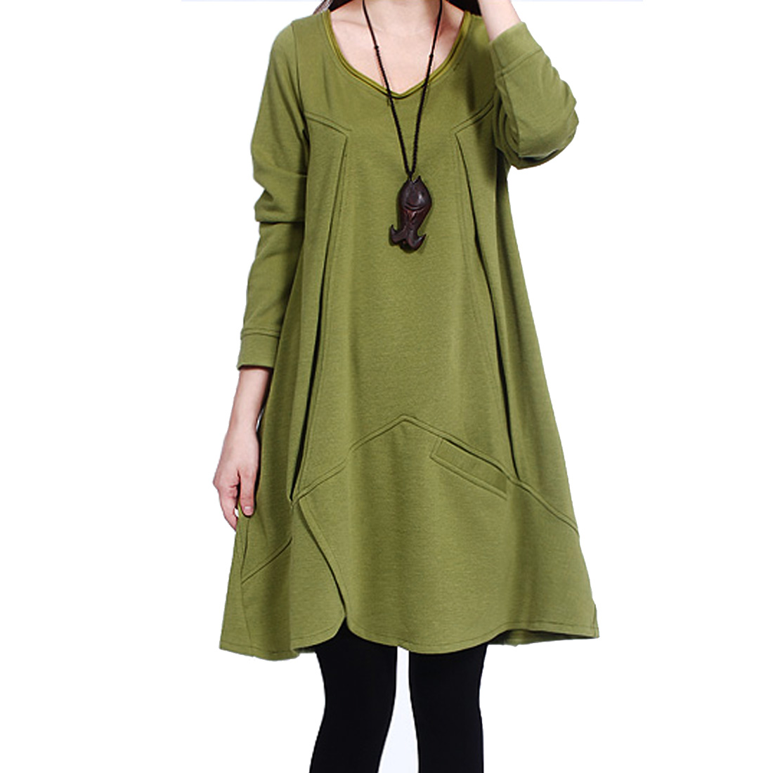 Ladies Long Sleeve Ruched Design Autumn Tunic Top Olive S