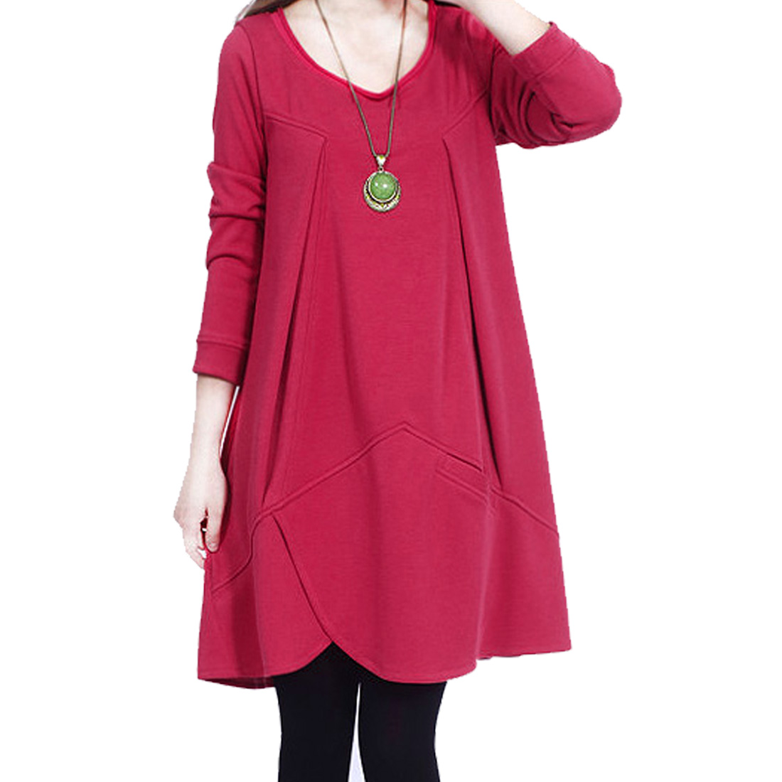 Women Scoop Neck Small Pocket Design Knitted Tunic Top Fuchsia S