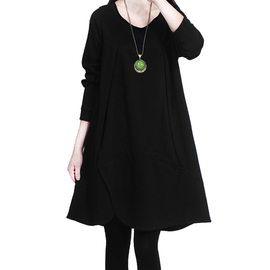 Women Scoop Neck Long Sleeve Korean Style Knitted Loose Tunic Top Black S