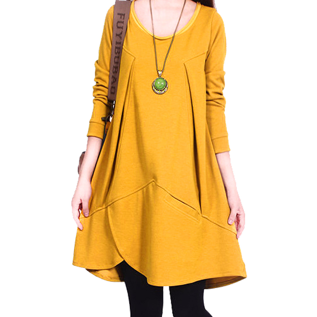 Women Long Sleeve Irregular Hem Knitting Autumn Chic Tunic Top Yellow S
