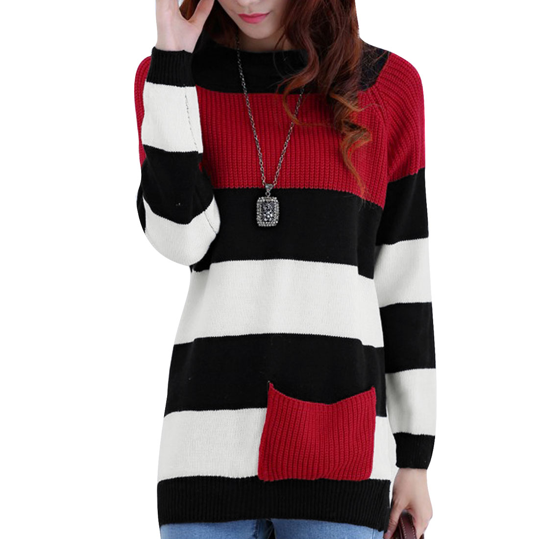 Ladies Loose Pullover Long Sleeve Red Black Stripes Tunic Sweater XS