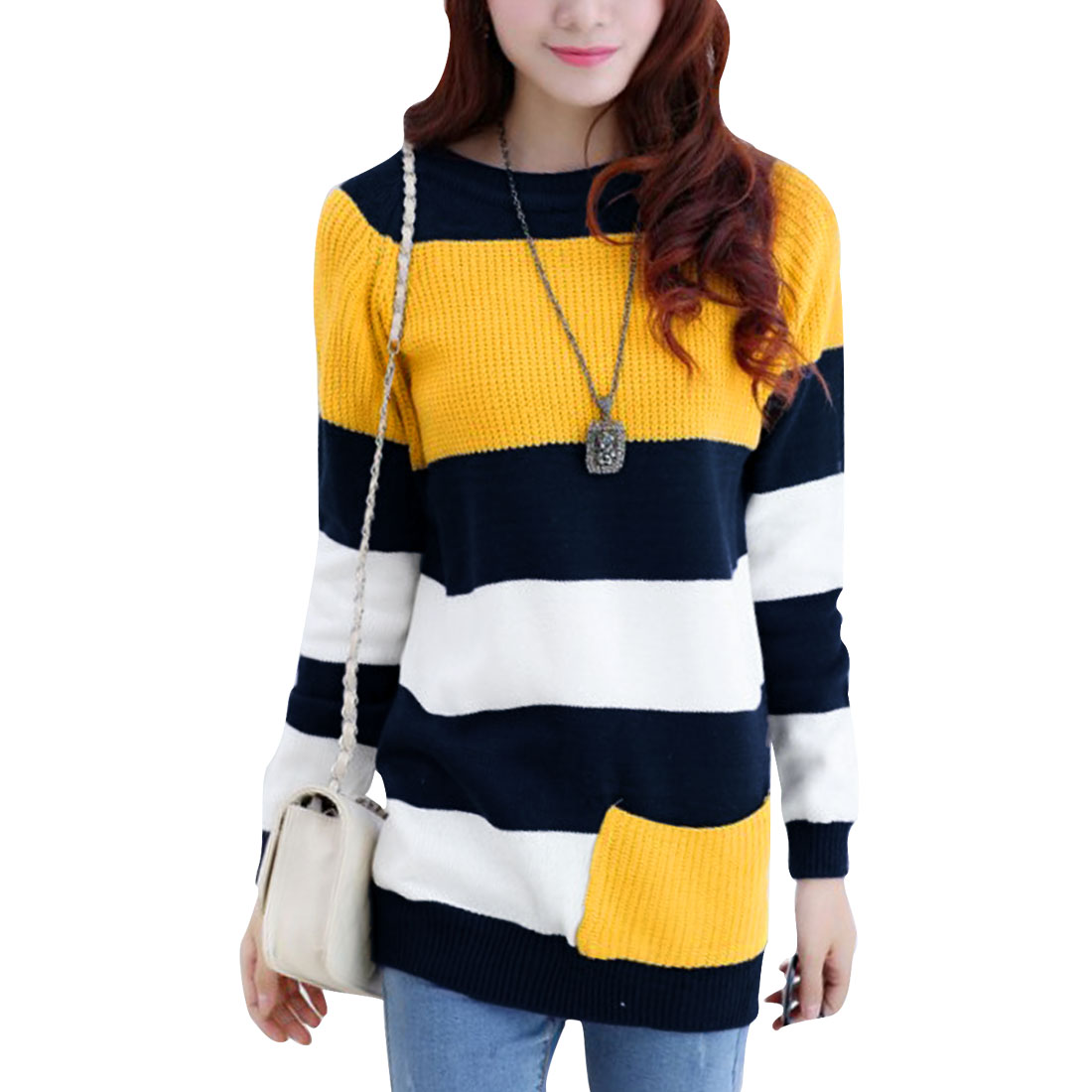 Women One Pocket Ribbed Cuffs Yellow Navy Blue Stripes Tunic Sweater XS