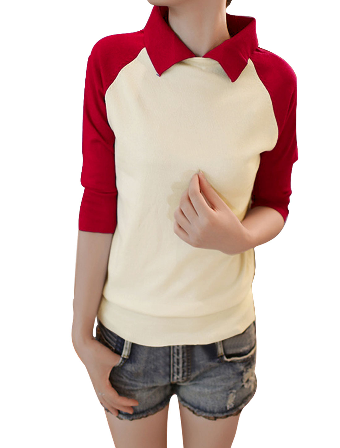 Women Bright Red Color Block Turn Down Collar Casual Knit Shirt XS