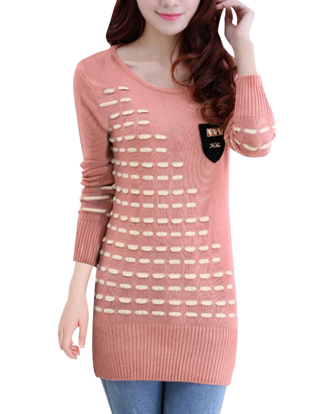Women Pullover Stripes Detail Stretchy Chic Thin Sweater Pink XS