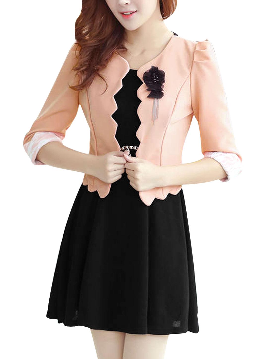 Lady Round Neck Sleeveless Dress & Front Open Pink Black Cropped Jacket XS