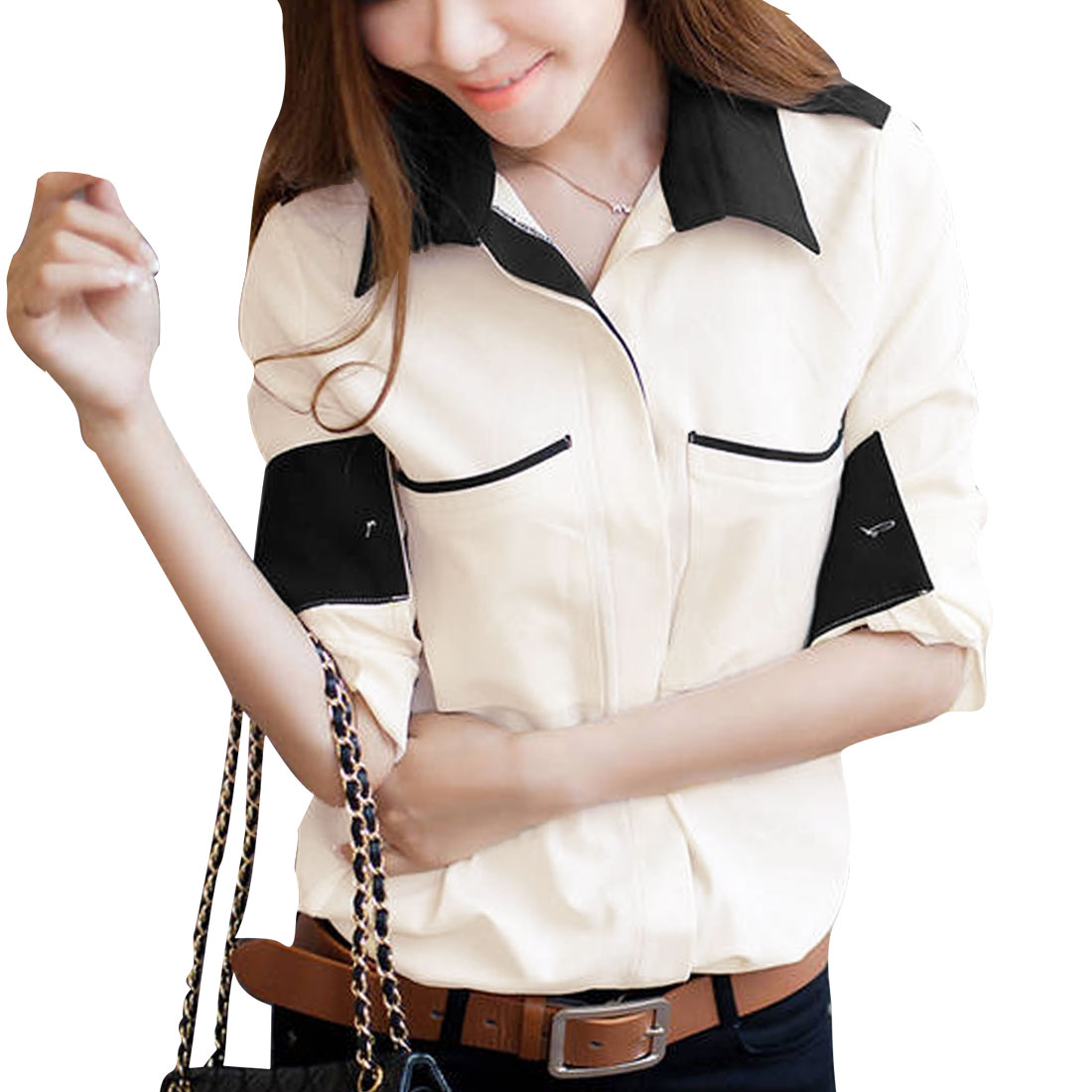 Lady Point Collar Long Sleeve Button Front Pocket Front Beige Shirt XS