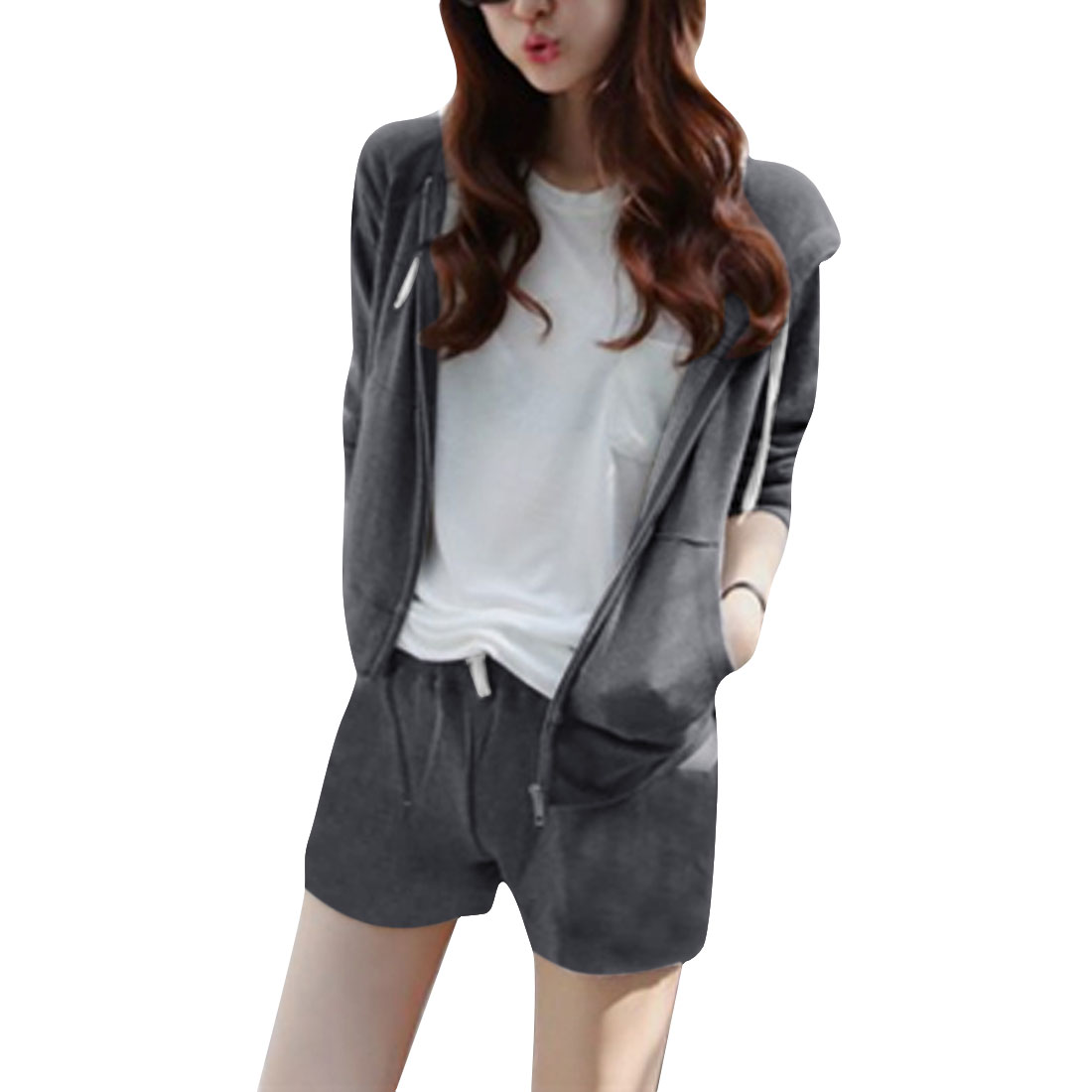 Lady Thin Long-sleeved Hoodie & Mid Rise Elastic Waist Gray Shorts XS