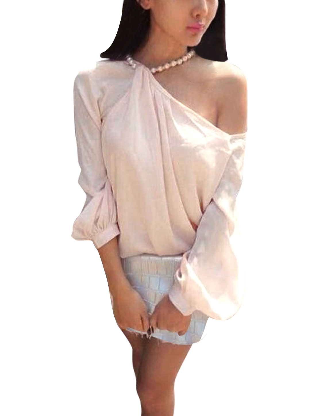Woman Fake Pearl Necklace Halter Neck Off-Shoulder Light Pink Blouse XS