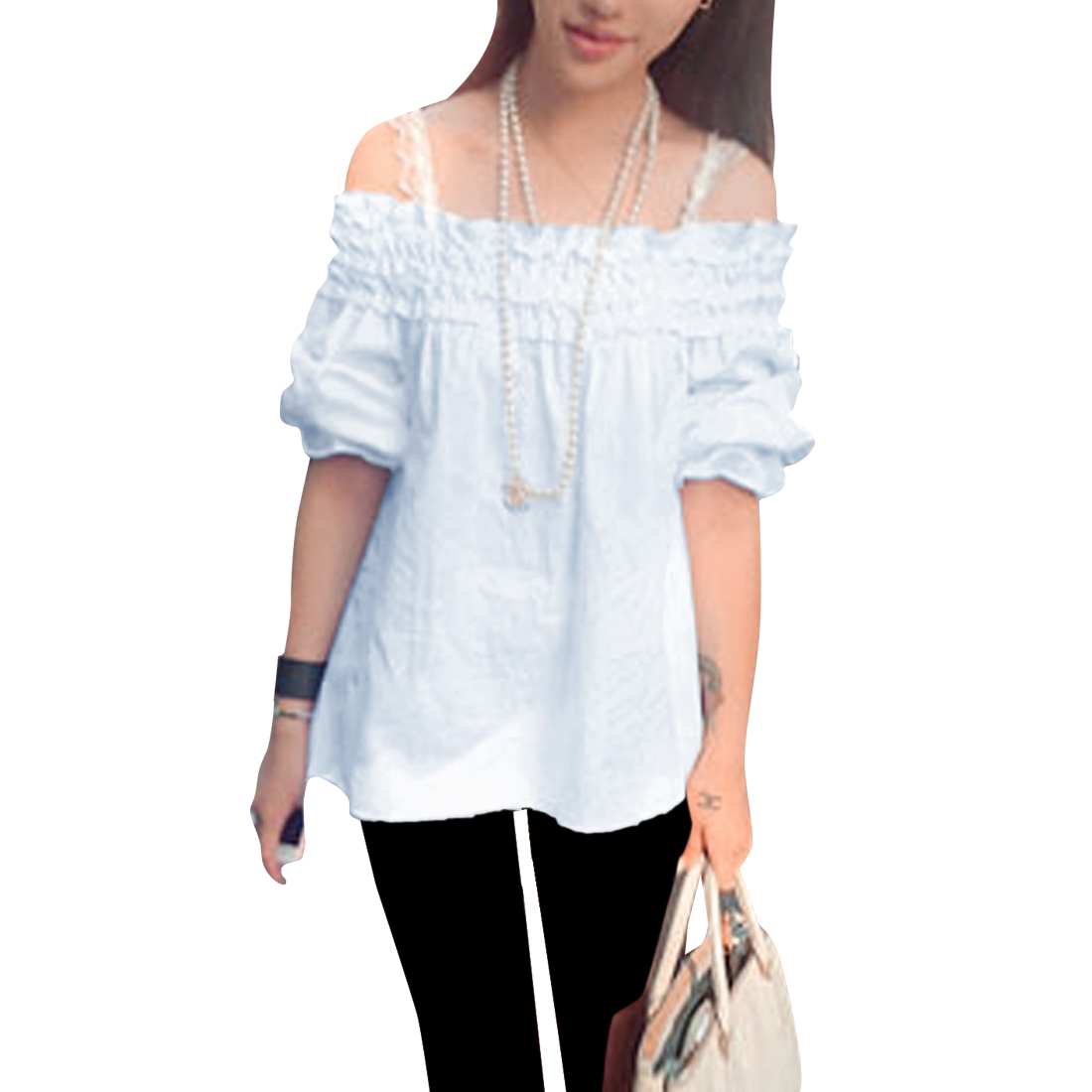 Women Off Shoulder Pullover Long Sleeve Ruffled Sweet Blouse White XS