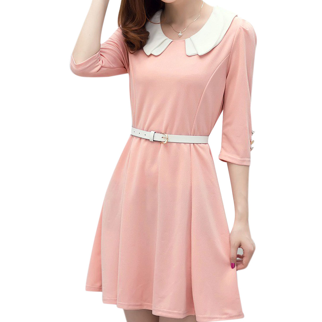 Ladies Pretty Pink Doll Collar Half Sleeve Above Knee Dress w Belt XS