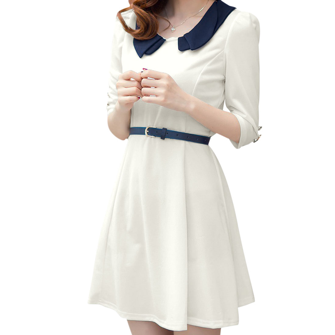 Doll Collar Slim Fit White Spring Dress w Belt for Lady XS