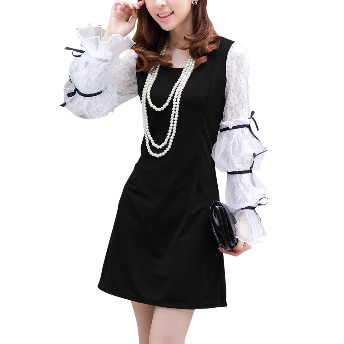 Women Lace Splicing Long Sleeve Scoop Neck Black White A Line Dress S