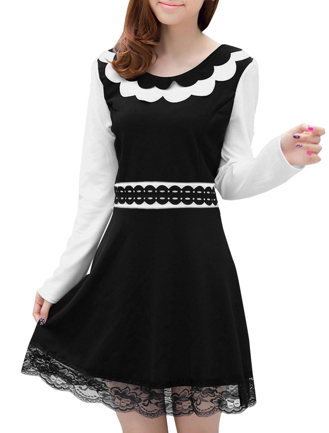 Lady Round Neck Long-sleeved Lace Panel Black White Dress XS