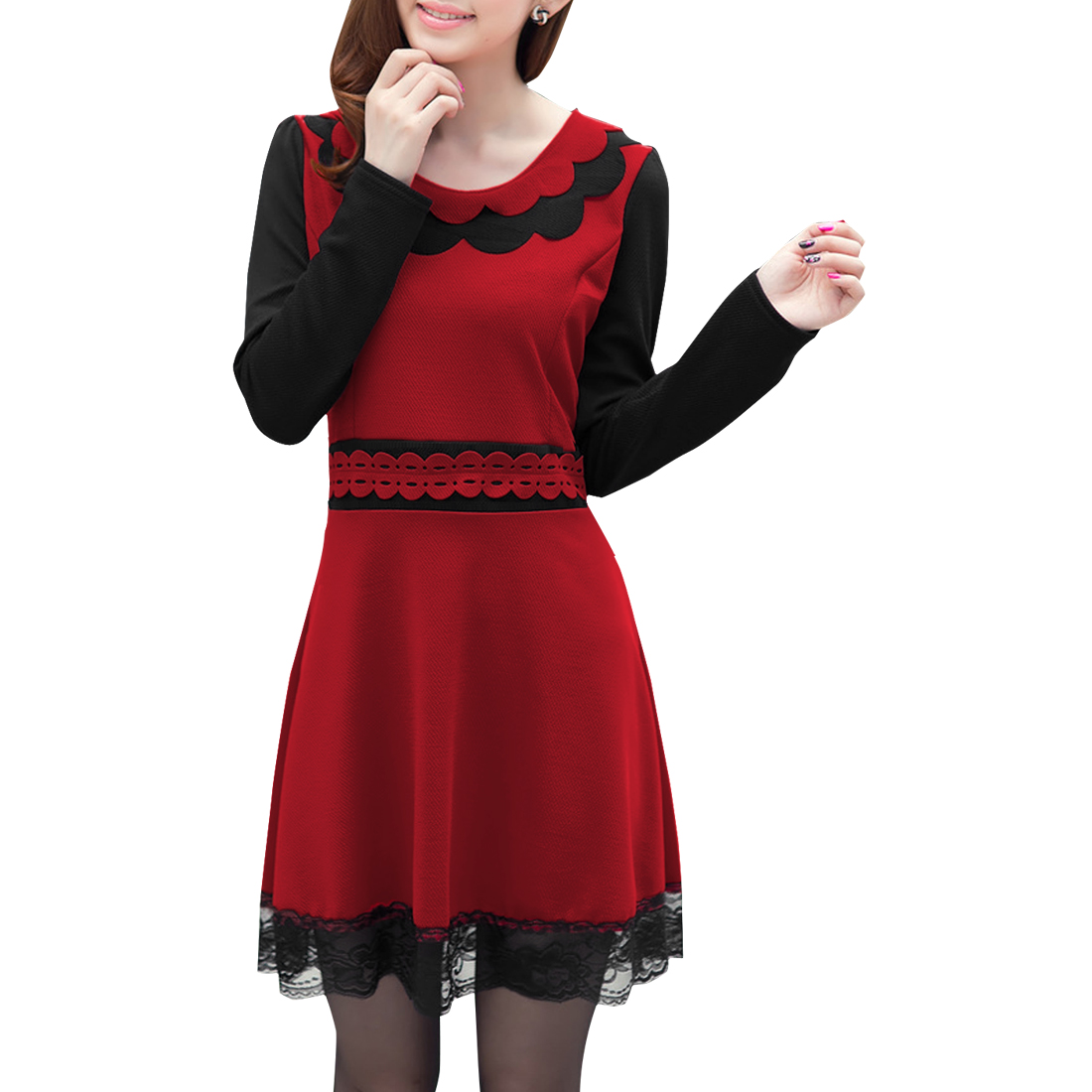 Lady Round Neck Long Sleeve Lace Patchwork Red Black Dress XS