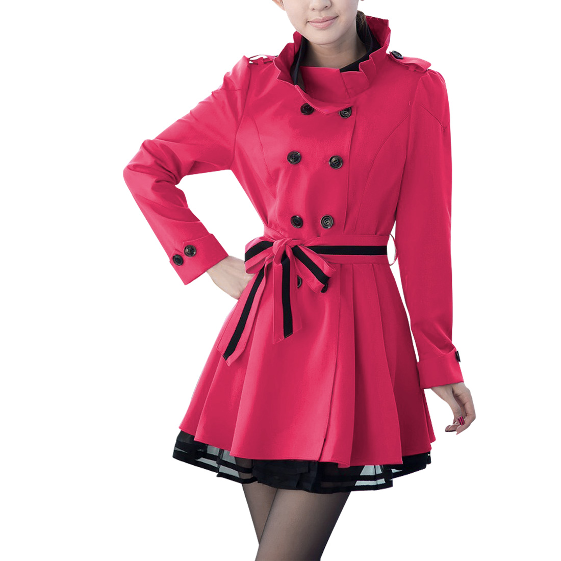 Woman Pretty Ruffled Stand Collar Fuchsia Double-Breasted Front Trench Coat S