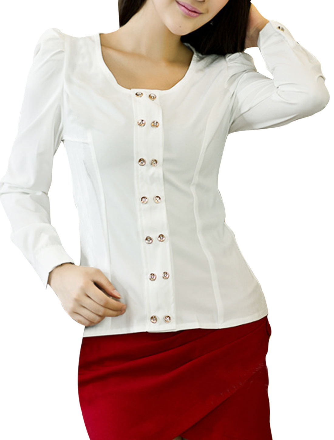 Woman Pure White Color Double-Breasted Front Casual Top Blouse XS