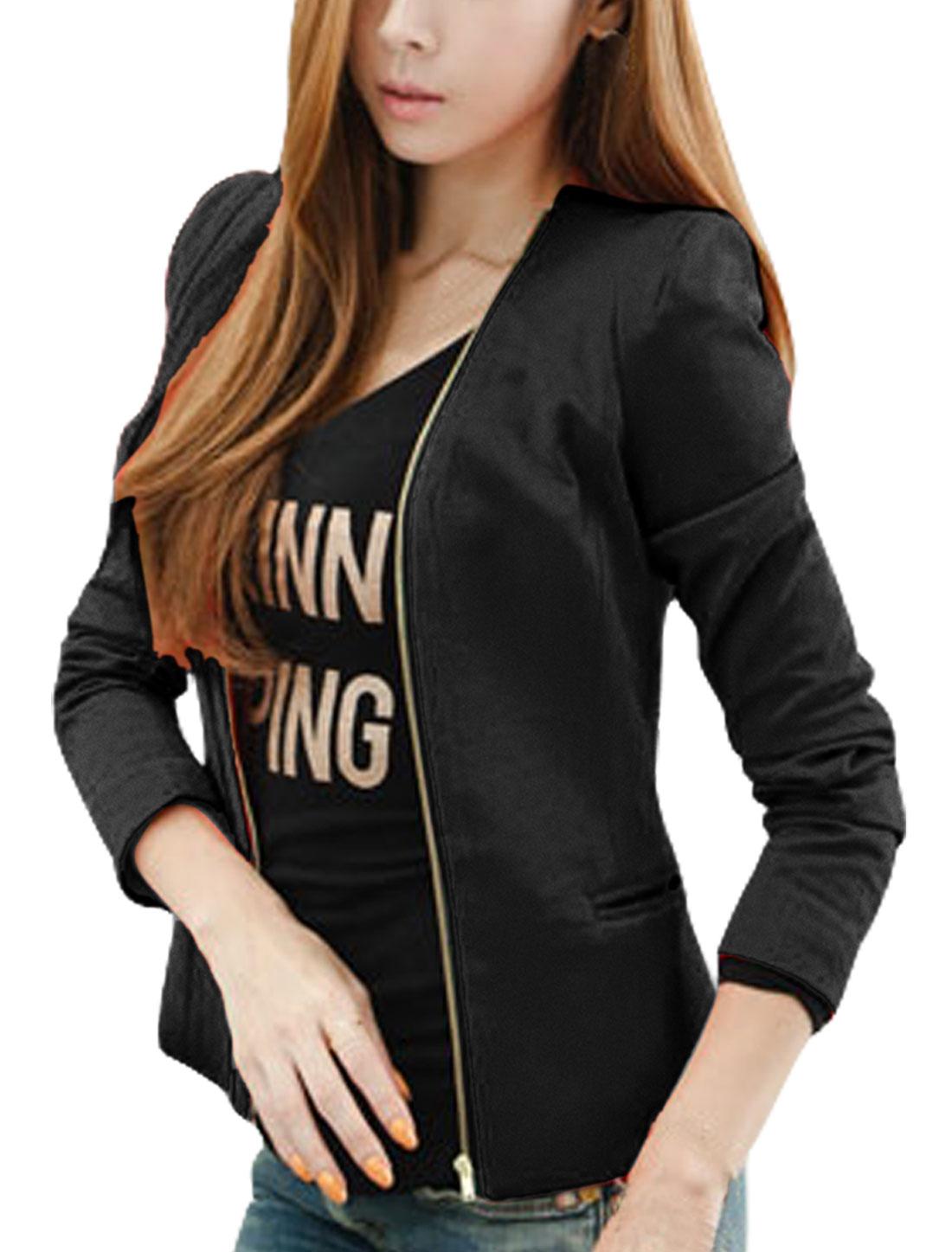 Ladies Pure Black Color Full Zip-Up Closure Blazer Jacket XS
